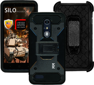 ZTE Zmax Pro MM Silo Rugged Case Black(Tempered Glass Included)