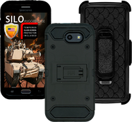 Samsung Galaxy J3 Emerge MM Silo Rugged Case Black(Tempered Glass Included)
