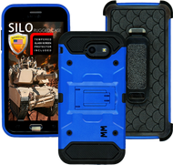 Samsung Galaxy J3 Emerge MM Silo Rugged Case Blue(Tempered Glass Included)