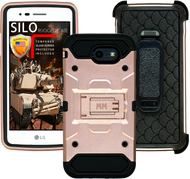 Samsung Galaxy J3 Emerge MM Silo Rugged Case Rose Gold(Tempered Glass Included)