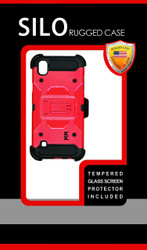 LG Tribute HD MM Silo Rugged Case Red(Tempered Glass Included)