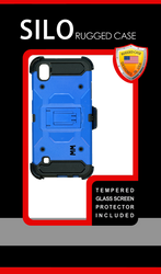 LG Tribute HD MM Silo Rugged Case Blue(Tempered Glass Included)