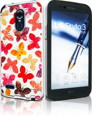 LG Stylo 3 MM Slim Dura Metal Rainbow Butterfly