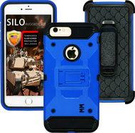Iphone 8 PLUS/7 PLUS/6 PLUS/6S Plus MM Silo Rugged Case Blue(Tempered Glass Included)
