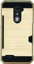 ZTE ZMax Pro MM Slim Dura Case Metal Finish With Card Holder Gold