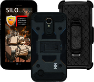LG K20 MM Silo Rugged Case Black(Tempered Glass Included)