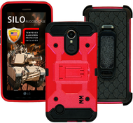 LG K20 PLUS MM Silo Rugged Case Red(Tempered Glass Included)