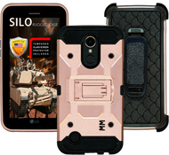 LG K20 PLUS MM Silo Rugged Case Rose Gold(Tempered Glass Included)