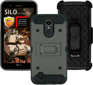 LG K20 PLUS MM Silo Rugged Case Grey(Tempered Glass Included)