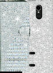 LG K20 PLUS  MM Jewel Diagonal Wallet Silver