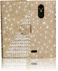 LG K20 PLUS  MM Jewel Diagonal Wallet Gold