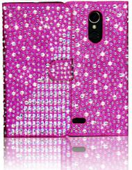LG K20 PLUS MM Jewel Diagonal Wallet Hot Pink
