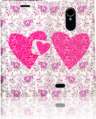 LG K20 PLUS   MM 3D Design Wallet Pink Heart