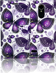 LG K20 PLUS   MM 3D Design Wallet Purple Butterfly