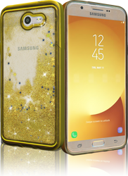 Samsung Galaxy J7(2017) MM Electroplated Glitter Case With Stars Gold