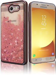 Samsung Galaxy J7(2017) MM Electroplated Glitter Case With Stars Rose Gold