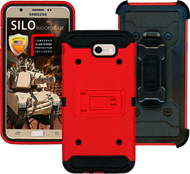 Samsung Galaxy J7(2017) MM Silo Rugged Case Red(Tempered Glass Included)
