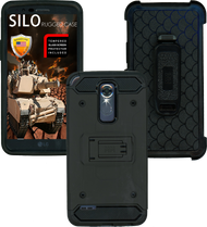 LG Stylo 3 MM Silo Rugged Case Black(Tempered Glass Included)