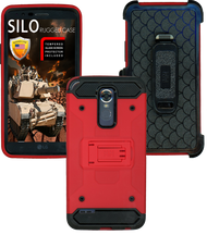 LG Stylo 3 MM Silo Rugged Case Red(Tempered Glass Included)