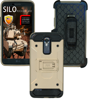 LG Stylo 3 MM Silo Rugged Case Gold(Tempered Glass Included)