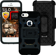 Iphone 5/5S/5SE MM Silo Rugged Case Black(Tempered Glass Included)