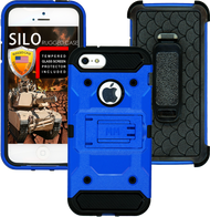 Iphone 5/5S/5SE MM Silo Rugged Case Blue(Tempered Glass Included)
