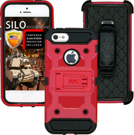 Iphone 5/5S/5SE MM Silo Rugged Case Bright Red(Tempered Glass Included)