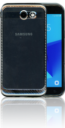 Samsung Galaxy J3 EMerge MM Electroplated Carbon Fiber Candy Case Silver