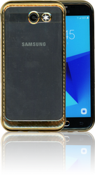 Samsung Galaxy J3 EMerge MM Electroplated Carbon Fiber Candy Case Gold