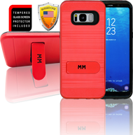 Samasung Galaxy S8 MM Opal Kickstand Case With Credit Card Red (Curved Tempered Glass Included)