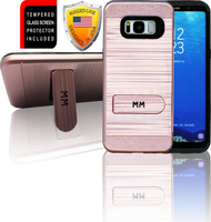 Samasung Galaxy S8 MM Opal Kickstand Case With Credit Card Rose Gold (Curved Tempered Glass Included)