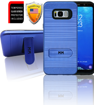 Samasung Galaxy S8 PLUS MM Opal Kickstand Case With Credit Card Blue(Curved Tempered Glass Included)