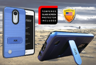 LG Aristo  MM Opal Kickstand Case With Credit Card Blue(Full Covered Tempered Glass Included)