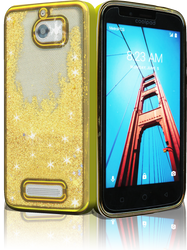 Coolpad Defiant MM Electroplated Water Glitter Case With Stars Gold