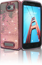 Coolpad Defiant MM Electroplated Water Glitter Case With Stars Rose Gold