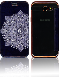Samsung J3 Emerge MM Clear Design Diary Wallet Tribal Leather Blue