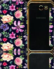 Samsung J3 Emerge MM Clear Design Diary Wallet Purple Daisy Flowers