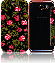 Samsung J3 Emerge MM Clear Design Diary Wallet Black Roses
