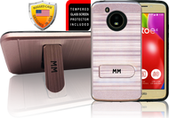 Motorola E4  MM Opal Kickstand Case With Credit Card Rose Gold(Tempered Glass Included)