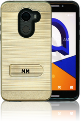 Alcatel A30 Fierce MM Opal Kickstand Case With Credit Card Gold(Tempered Glass Included)