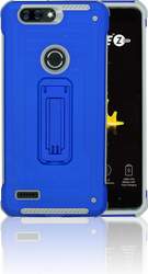ZTE Blade MM Opal Kickstand Case With Credit Card Blue(Full Covered Tempered Glass Included)