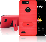 ZTE Blade MM Opal Kickstand Case With Credit Card Red(Full Covered Tempered Glass Included)