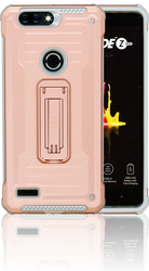 ZTE Blade MM Opal Kickstand Case With Credit Card Rose Gold(Full Covered Tempered Glass Included)