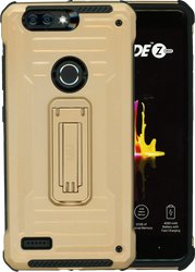 ZTE Blade MM Opal Kickstand Case With Credit Card Gold(Full Covered Tempered Glass Included)