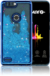 ZTE Blade MM Electroplated Water Glitter Case With Stars Blue