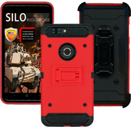 ZTE Blade MM Silo Rugged Case Red(Full Covered Tempered Glass Included)
