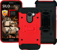 Alcatel A30 Fierce MM Silo Rugged Case Red(Tempered Glass Included)