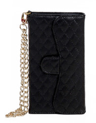 Samsung Mega 5.8 Quilted Wallet With Chain Black
