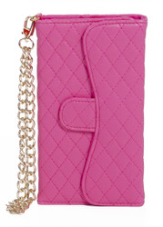 Samsung Mega 5.8 Quilted Wallet With Chain Pink