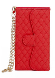 Samsung Mega 5.8 Quilted Wallet With Chain Red